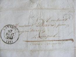 Lettre Marque Postale - Lannion 21 - écrite à Plouaret Envoyée Vers Paimpol Le 27 Décembre 1843 M1 - Marcophilie (Lettres)