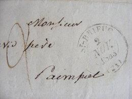 Lettre Marque Postale - St Brieuc  21 - écrite St Brieuc Envoyée Vers Paimpol Le 2 Novembre 1843 M1 - Marcophilie (Lettres)