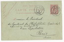 CRETE - MOUCHON - 1913 - CARTE ENTIER RARE OBLITEREE LA CANEE Pour PARIS