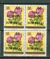 Sud / Zuid Kasaï 1961 OBP/COB  4 X 3** Met Variëteit Ontbrekend Punt Op I / Variété Point Manquant Sur Le I De Kasaï MNH - Sud-Kasaï