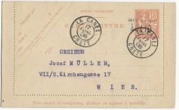 CRETE - MOUCHON - 1908 - CARTE ENTIER RARE OBLITEREE LA CANEE Pour WIEN (AUTRICHE)