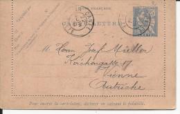 CRETE - MOUCHON - 1909 - CARTE-LETTRE ENTIER RARE OBLITEREE LA CANEE Pour WIEN (AUTRICHE)