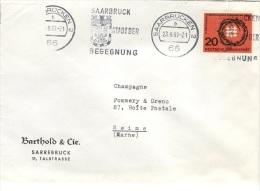 L-ALL153 - ALLEMAGNE N° 277 Sur Lettre De Saarbrücken Obl. Continu Illustré Pour Reims 1963 - Briefe U. Dokumente