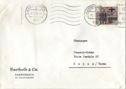 L-ALL154 - ALLEMAGNE N° 263 Sur Lettre De Saarbrücken Obl. Continu Pour Reims 1963 - Briefe U. Dokumente