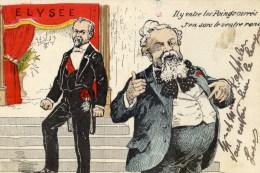 """Caricature Illustrée Couleur M.FALLIERES à L´Elysée """"Il Y Entre Les Poings Carrés,,,,etc - Satiriques"""