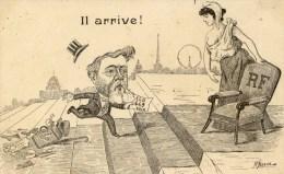 """Caricature Illustrée Par ASSUS  """"Il Arrive"""" M.FALLIERES à L´Elysée - Satiriques"""