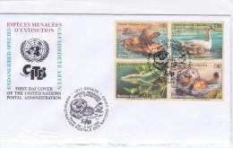 UNO  GENF 385-88  FDC 4er BLOCK HIPPO SCHWAN SWAN SEEOTTER WARAN VOGEL BIRD  WILD LIFE ENDANGERED SPECIES - Francobolli