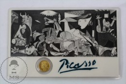 Guernica Pablo Picasso Small Golden Coin/ Medal In A Plastic Card - Other