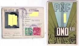 Tessera - Partito Nazionale Fascista - Opera Naz/le Dpolavoro  - 1943  - Con Foto - Venezia - Documenti Storici