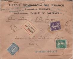 Yvert 159 + 161 +142 Lettre Cachet CHARGE ST CIERS Sur Gironde 1923 Pour Blaye - Frankreich