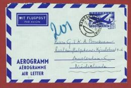 Ganzsache Aerogramm 3,60 Sch  Ramsau - Amsterdam - 1945-60 Lettres