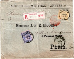 """BELGIQUE : LETTRE REC . A 75 Cts . POUR """" PARIS """" . TIMBRES PERFORES ; AB . 1894 . - Perforés"""