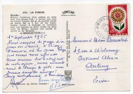 """PEISEY-NANCROIX--73--1965--cachet Rond à Tirets Sur Tp Europa Le Tout Sur Carte Postale """"La Fondue""""(vin De Savoie) - Marcophilie (Lettres)"""