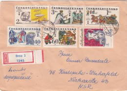 1977 LETTRE COVER  TCHECOSLOVAQUIE. RECOMMANDE BRNO TO KARLSRUHE GERMANY / 2204 - Tchécoslovaquie