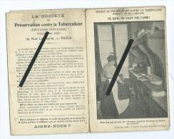 Dépliant Carte Très Souple : Société De Préservation Contre La Tuberculose 33 Rue Lafayette PARIS - Salute