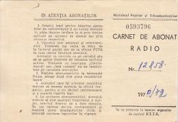 37528- RADIO SUBSCRIBER BOOKLET, FEE STAMPS, 1970, ROMANIA - Documenti Storici