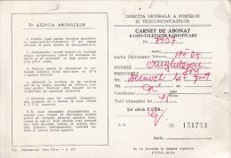 37530- RADIO SUBSCRIBER BOOKLET, FEE STAMPS, 1980, ROMANIA - Documenti Storici