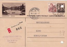 1950 SUISSE. ENTIERLENZERHEIDE HEIDSEE. RECOMMANDE GENEVE POUR KONOLFINGEN.  /3939 - Stamped Stationery