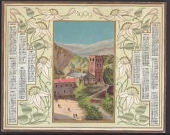 """FR - 1909 - BEL ALMANACH DES POSTES & TELEGRAPHES - """" L'ABBAYE DE St MARTIN DU CANIGOU """"  DORURE DE LA 1ère PAGE - - Grand Format : 1901-20"""