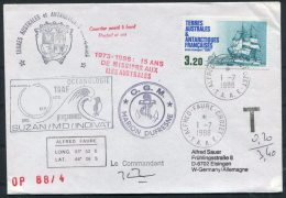 1988 TAAF Alfred Faure Antarctica Penguin Ship Postage Due Taxe Cover - Germany - French Southern And Antarctic Territories (TAAF)