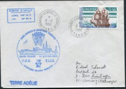 1988 TAAF Dumont Durville Antarctica Terre Adelie Ship Cover - French Southern And Antarctic Territories (TAAF)
