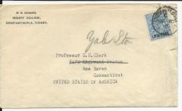 TURQUIE - 1910 - ENVELOPPE  De CONSTANTINOPLE BRITISH POST OFFICE Pour NEW HAVEN (USA) - British Levant