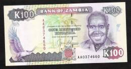 ZAMBIA ZAMBIE P34   100  KWACHA   (1991)  Signature 9  UNC - Zambie