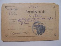 Permission Militaire Du 46em Régiment D'infanterie En 1932 à Bonsignore Louis - Vieux Papiers