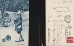 4297) AUGURALE BUON ANNO BAMBINO PUPAZZO NEVE E QUADRIFOGLIO VIAGGIATA 1939 - Auguri - Feste