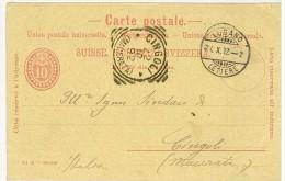 STORIA POSTALE - SVIZZERA - SUISSE - ANNO 1892 - CARTE POSTALE -LUGANO (LETTERE) - CINGOLI (MACERATA) - PER IL SINDACO - - Poststempel