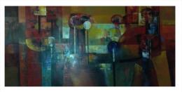 """Hombres Conversando/Men Talking""  Bautista, 63 Inches X 28 Inches, 2013, Oil On Canvas, Peru - Olii"