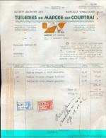 Factuur Facture - Tuilerie De Marcke Lez Courtrai - Marke Kortrijk 1942 - Non Classés