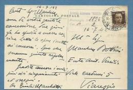 AUTOGRAFO PITTORE GIULIO MARCHETTI ( LUCCA 1891 - 1957 )  - CARTOLINA POSTALE CON UNA  AL PREMIO VERSILIA VIAREGGIO 1942 - Autographes