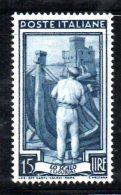 Y873 - REPUBBLICA 1955 , Lavoro 15 Lire Stelle II 25° Dx  *** MNH . Gomma Bicolore - Varietà E Curiosità
