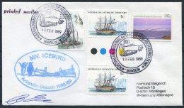 1989 Australia AAT Antarctica M/V ICEBIRD Penguin Ship Mawson Signed Cover - Australian Antarctic Territory (AAT)