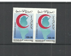1986- Tunisia- Imperforated Pair-World Red Crescent And Red Cross Day - Croix-Rouge