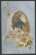 Belle Litho Argentée. Joyeuses Pâques. Elégant Lapin à Lunettes, Dans Un  Oeuf Pailleté. Kopal. - Pâques