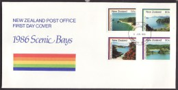 New Zealand #850-53 F-VF Unaddressed Cacheted FDC - Scenery (1986) - FDC