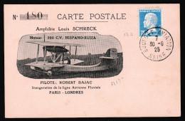 1ER VOL ALLER PARIS-LONDRES (M133 FRANCE) ET RETOUR LONDRES-PARIS (M135 GB) 30/6/1925 FM 133. - Primi Voli
