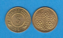 Guyana 5 Céntimos 1.991 Niquel-Latón KM#32 SC/UNC    T-DL-11.628 - Otros – América