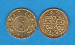 Guyana 5 Céntimos 1.991 Niquel-Latón KM#32 SC/UNC    T-DL-11.628 - Andere - Amerika