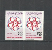 1985- Tunisia- Imperforated Pair-World Red Crescent And Red Cross Day - Croix-Rouge
