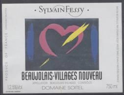 THEME DIVERS étiquette De Vin BEAUJOLAIS VILLAGES NOUVEAU / COEUR - Cuori