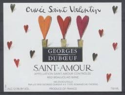 THEME DIVERS étiquette De Vin SAINT AMOUR / COEUR SAINT VALENTIN - Cuori