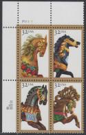 !a! USA Sc# 2976-2979 MNH PLATEBLOCK (UL/P11111/c) - Carousel Horses - Stati Uniti