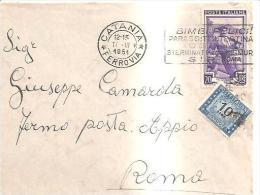 68807) Lettera Fermo Posta Con 20£. Italia Al Lavoro+10£. Segnatasse Da Catania A Roma Il 17-3-1951 - 1946-.. République