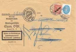 Deutsches Reich 1912 - Dienstbrief 1939 Cham Nach Pemflingen, 4 + 50 M (Dienstmarke) Auf Amtsgericht-Brief Gel.v. ...