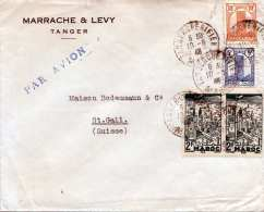MAROKKO 1946? - 4 Fach Frankierung Auf Brief Gel.v. Tanger > St.Gallen - Marokko (1891-1956)