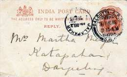 INDIEN 1915 - Quarter Anna Ganzsache Auf Pk Stempel Calcutta + Jalapahar - Indien