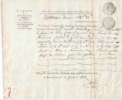 QUITTANCE Fait à Bruxelles Le 22 Janvier 1808 - Superbe Sur Papier Filigrané REP FRA -  BEAU CACHET FRANCAIS - Historical Documents